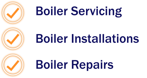 an image on the right with orange ticks enclosed in glowing orange rings with boiler servicing, installations and repairs as the main headings