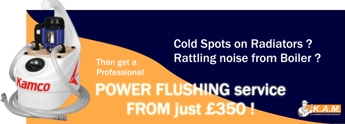 bespoke large Power Flushing banner featuring a Kamco Power Flush Machine