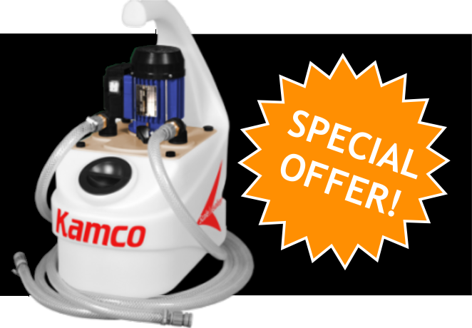 Bespoke Power Flush Banner - Right hand side Kamco Machine with 'SPECIAL OFFER!' in a multiple pointed star.